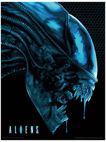 Aliens - Head Blue Masterprint