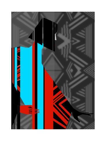 Artistic Fashion Colorful Illustration with Stripes Premium Giclee Print