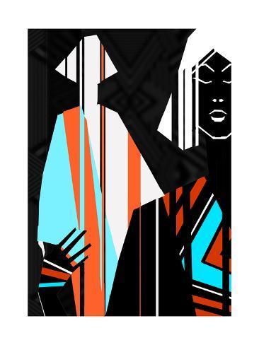 Artistic Fashion Colorful Illustration with Stripes Art Print