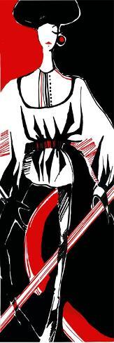 Artistic Fashion Model, Vector Hand Drawn Black Red and White Illustration Art Print