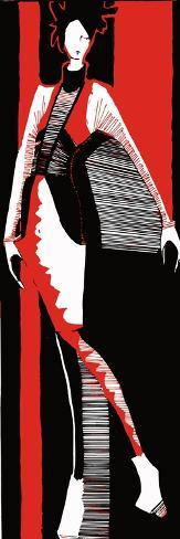 Artistic Fashion Model, Vector Hand Drawn Black Red and White Illustration Art Print