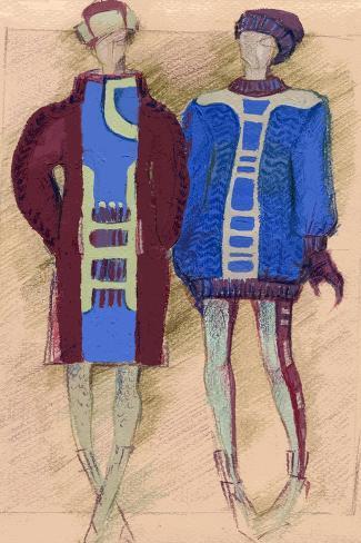 Two Artistic Models. Fashion Illustration Art Print