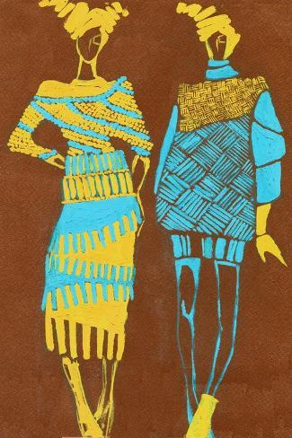 Two Young Models. Hand Drawn Fashionable Artistic Illustration Art Print