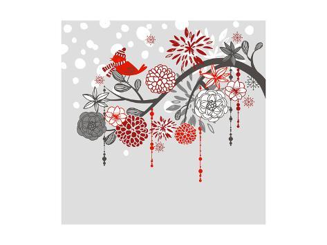 A Winter Branch with a Bird and falling Snow. Red and Grey Colors Art Print