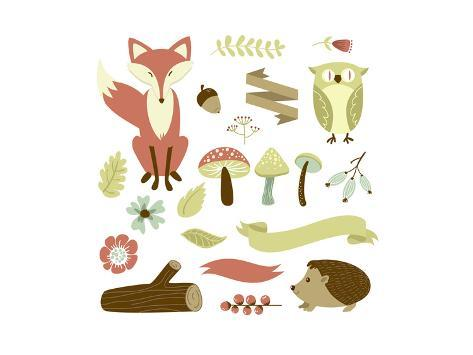Autumn Forest, Woodland Animals, Flowers and Ribbons Premium Giclee Print