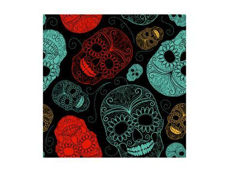 Background with Green, Black and Red Skulls Art Print