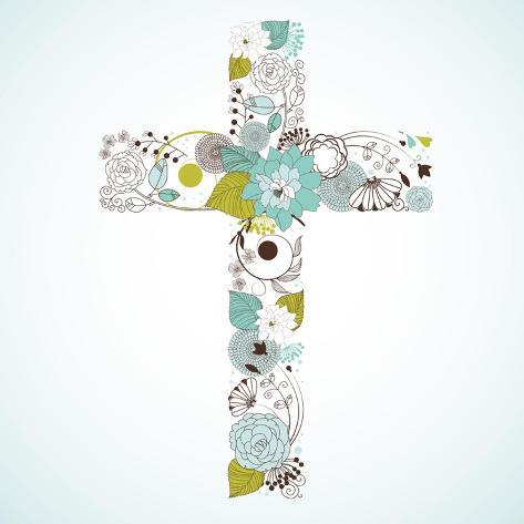 Beautiful Cross Made from Flowers Art Print