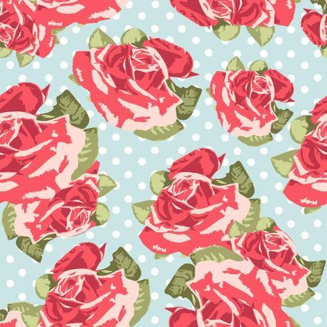 Beautiful Seamless Rose Pattern with Blue Polka Dot Background, Vector Illustration Art Print
