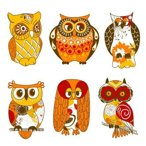 Collection of Six Different Owls Art Print