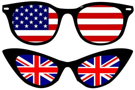 Cool Spectacles with American and British Flags Art Print