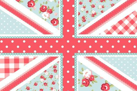 Cute British Flag in Shabby Chic Floral Style Art Print
