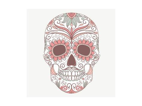Day of the Dead Colorful Skull with Floral Ornament Art Print