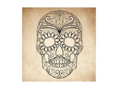 Day of the Dead Grungy Skull Art Print