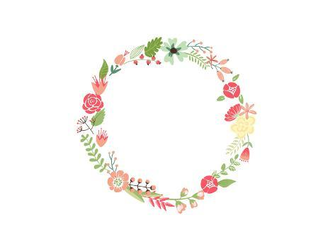 Floral Frame. Cute Retro Flowers Arranged Un a Shape of the Wreath Perfect for Wedding Invitations Art Print