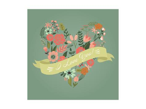 Floral Heart Card. Cute Retro Flowers Arranged Un a Shape of the Heart, Perfect for Wedding Invitat Premium Giclee Print