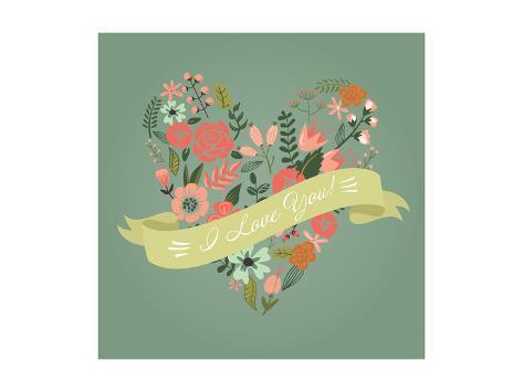 Floral Heart Card. Cute Retro Flowers Arranged Un a Shape of the Heart, Perfect for Wedding Invitat Art Print