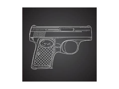 Gun Doodle on Black Background Art Print