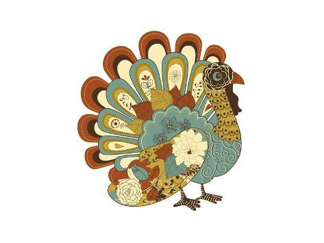 Happy Thanksgiving Beautiful Turkey Card Premium Giclee Print