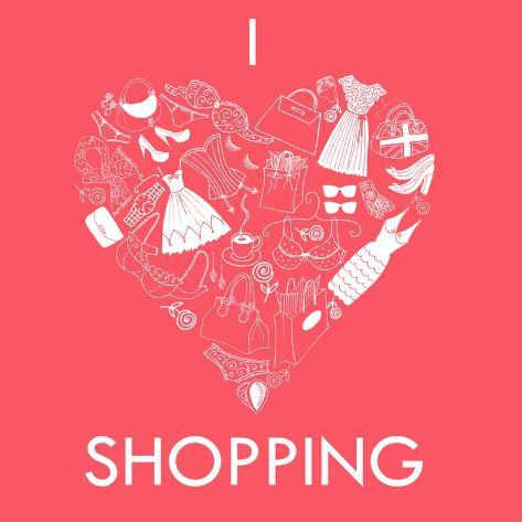 I Love Shopping! A Heart Shape Made of of Different Female Fashion Accessories. Art Print