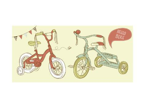 Kids Bicycles, a Girls Bike and a Tricycle Art Print