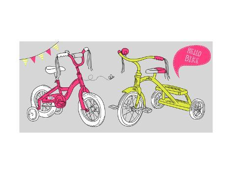 Kids Bicycles, a Girls Bike and a Tricycle Premium Giclee Print