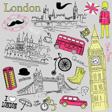 London Doodles Art Print
