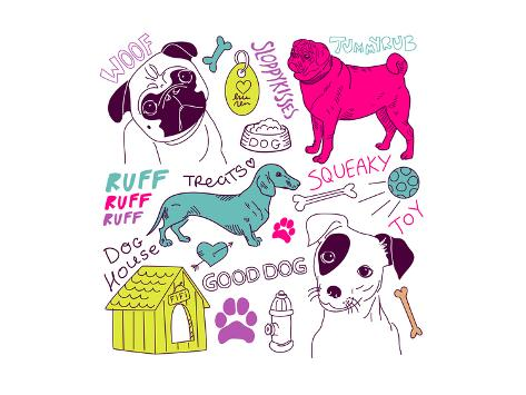Love Dogs! Vector Doodles Set Premium Giclee Print