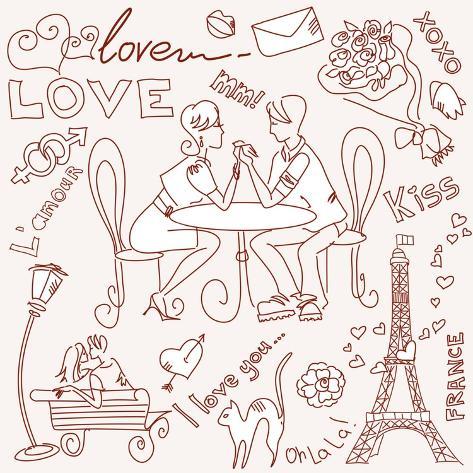 LOVE in Paris Doodles Art Print
