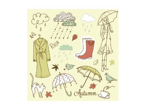 Rainy Autumn Days Doodles Premium Giclee Print