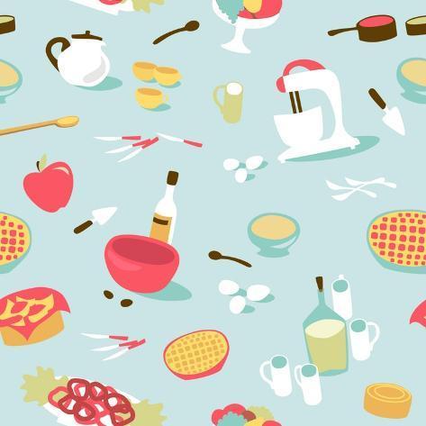 Retro Seamless Kitchen Pattern. Vector Illustration Art Print