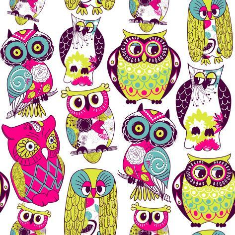 Seamless and Colourful Owl Pattern. Art Print