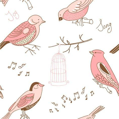 Seamless Background Made of Cute Hand-Drawn Bird Doodles Art Print