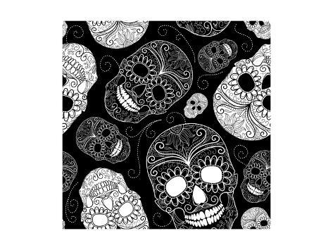 Seamless Black and White Background with Skulls Art Print