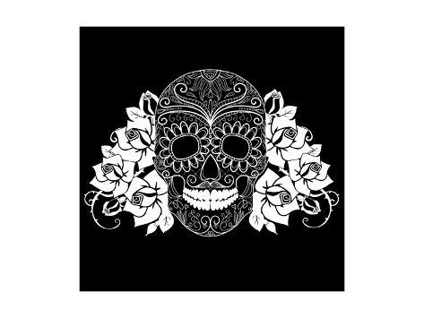 Skull and Roses, Black and White Day of the Dead Card Art Print