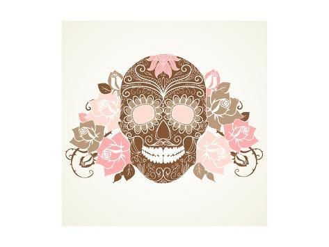 Skull and Roses, Colorful Day of the Dead Card Premium Giclee Print