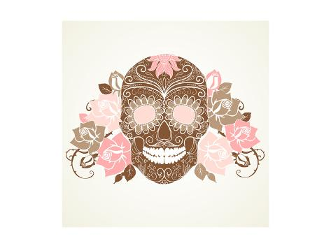 Skull and Roses, Colorful Day of the Dead Card Art Print