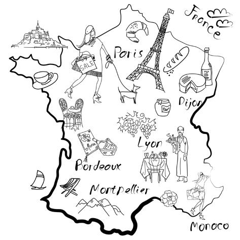 Stylized Map of France. Things that Different Regions in France are Famous For. Art Print