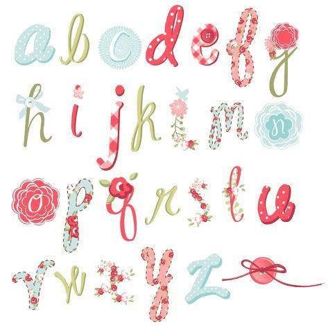 Unique Vector Flower Font. Amazing Hand Drawn Alphabet. Art Print