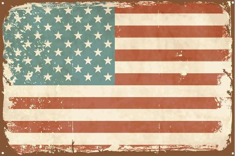 Vintage Style American Flag on the Tin Sign Art Print