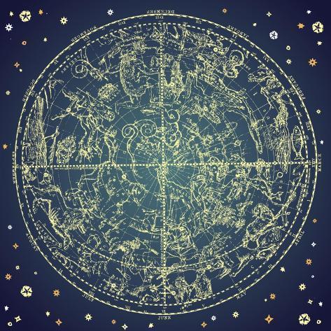 Vintage Zodiac Constellation Of Northern Stars Art Print