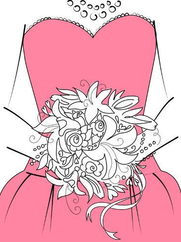 Wedding Background. Bridesmaid with Bouquet Art Print