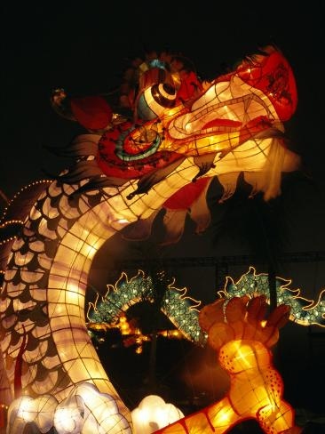 Dragon Lights at the Star Ferry Terminal on Chinese Takeover, Hong Kong, China, Asia Photographic Print