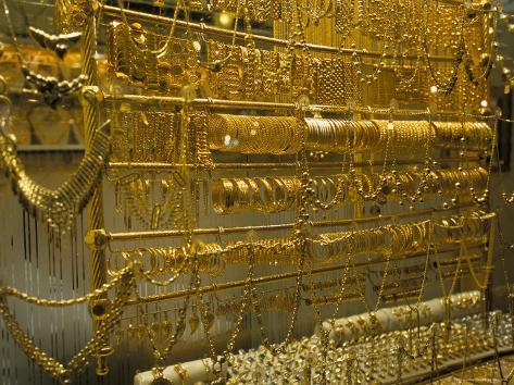 Gold Jewellery for Sale in Souq, Damascus, Syria, Middle East Photographic Print