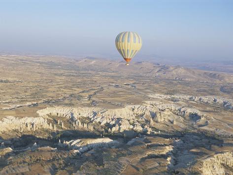 Hot Air Ballooning Over Rock Formations, Cappadocia, Anatolia, Turkey Photographic Print