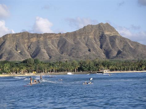 View of Diamond Head Crater, Oahu, Hawaii, Hawaiian Islands, USA Photographic Print