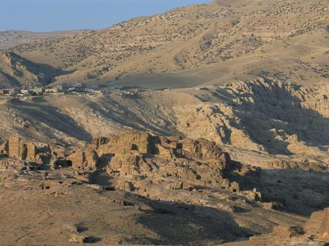 View Over Nabatean Tombs, Petra, Unesco World Heritage Site, Jordan, Middle East Photographic Print