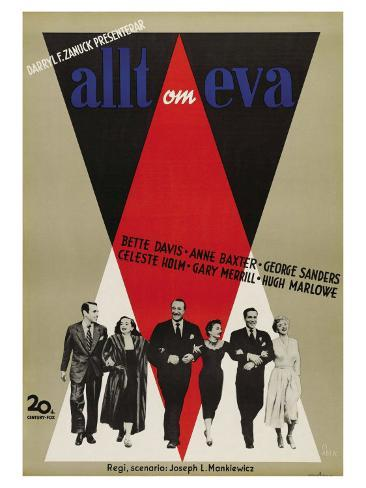 All About Eve, Swedish Movie Poster, 1950 Art Print
