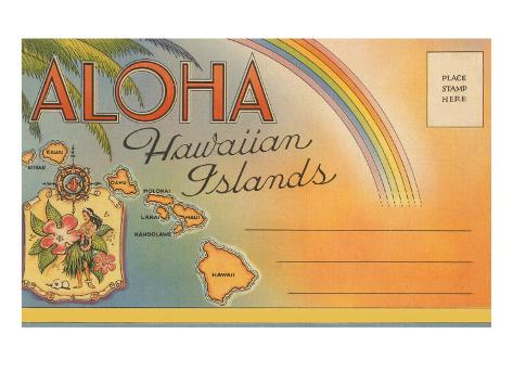 Aloha, Hawaiian Islands, Folder Art Print