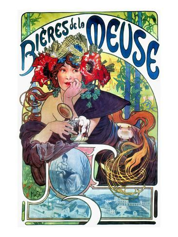 Beer Ad By Mucha, C1897 Giclee Print