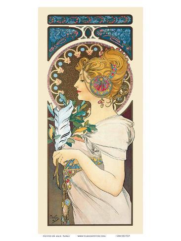 Feather, Art Nouveau, La Belle Époque Print by Alphonse ...
